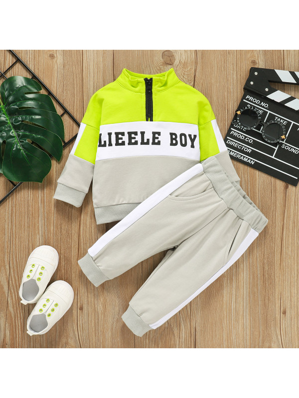 【0M-12M】Boys Letter Print Stitching Sweatshirt Shorts Two-piece Sports Suit