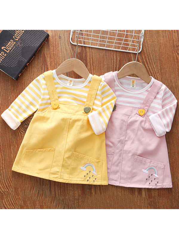 【18M-5Y】Girls Sweet Striped Long-sleeved Fake Two-piece Dress