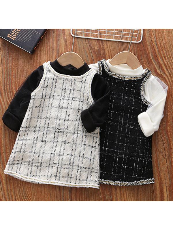 【18M-5Y】Girls Sweet Long-sleeved T-shirt Tweed Suspender Skirt Set