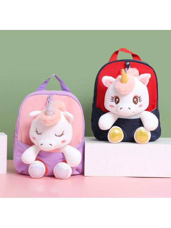 Unicorn Backpack Cartoon Plush Doll Split School Bag