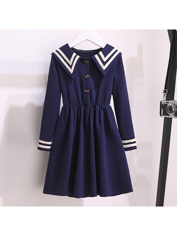 【3Y-13Y】Girls College Style Long-sleeved Dress