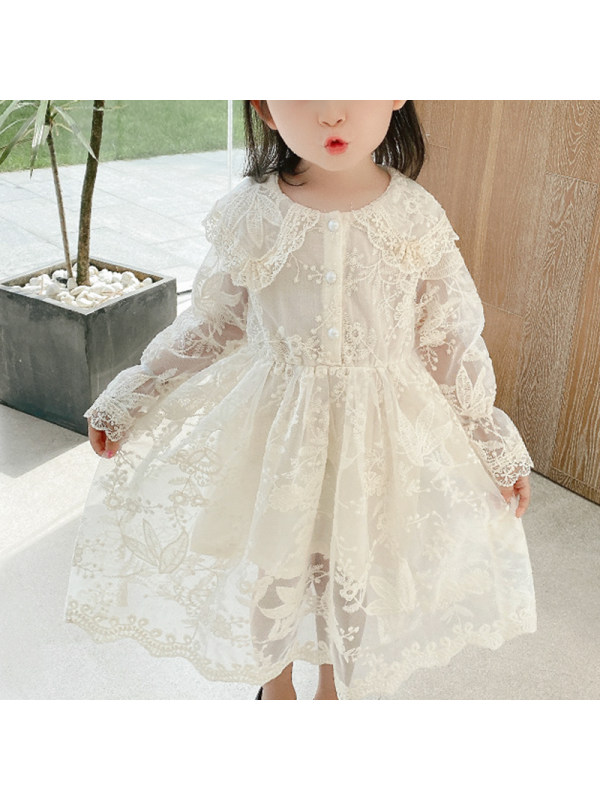 【3Y-13Y】Girls Lace Doll Collar Long Sleeve Dress