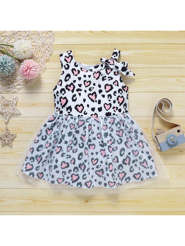 【18M-7Y】Girls' Round Neck Sleeveless Leopard-print Mesh Dress
