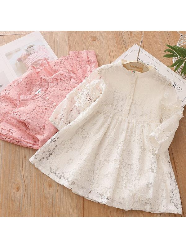 【3Y-13Y】Girls Lace Sweet Long Sleeve Dress