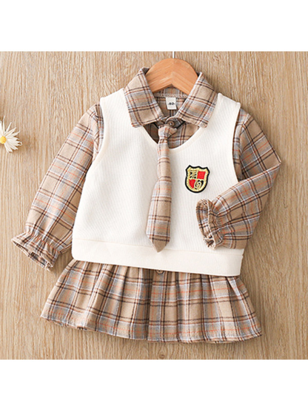 【12M-4Y】Girls Sweet Plaid Long-sleeved Dress Vest Set