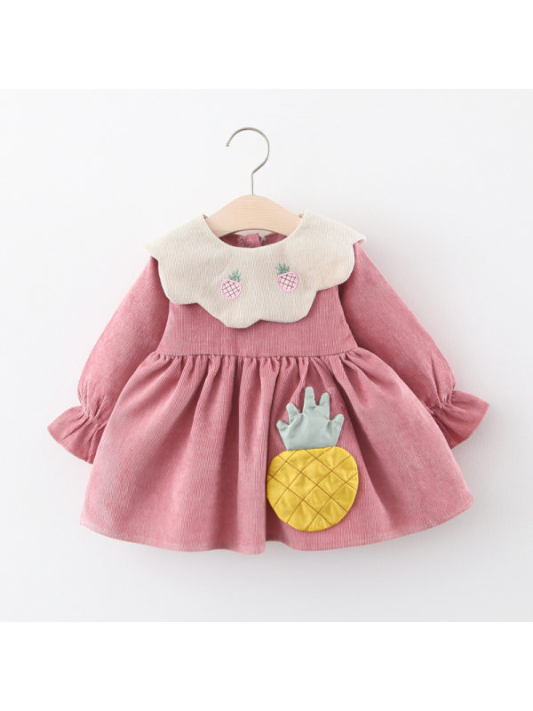 【6M-3Y】Girl Collar Long Sleeve Solid Color Dress