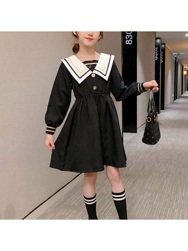 【3Y-13Y】Girls Long Sleeve Casual Lapel Dress