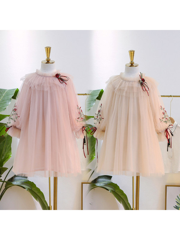 【3Y-13Y】Big Girls' Net Yarn Sweet Embroidered Dress