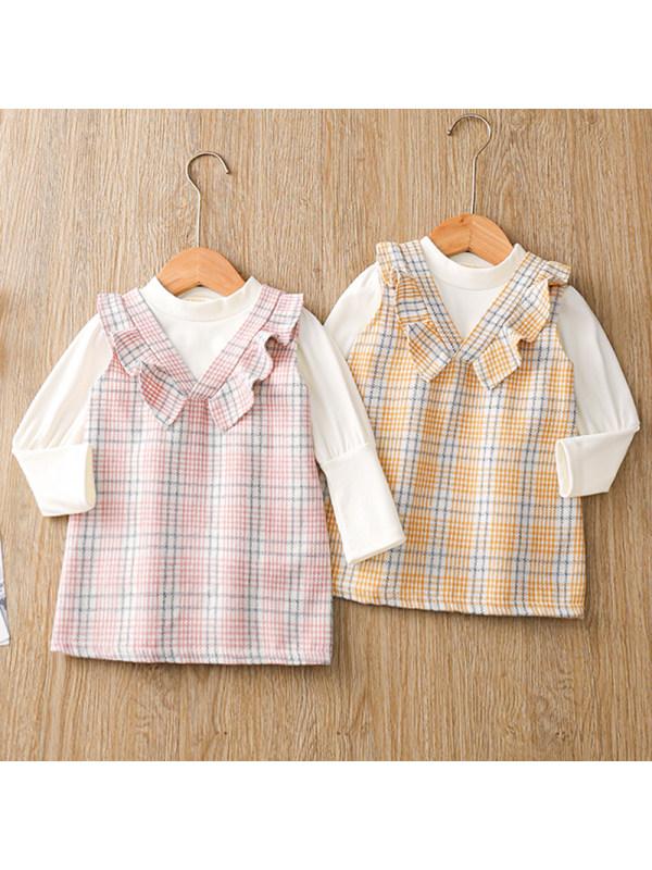 【12M-4Y】Girls Sweet Long-sleeved T-shirt Plaid Suspender Skirt Set