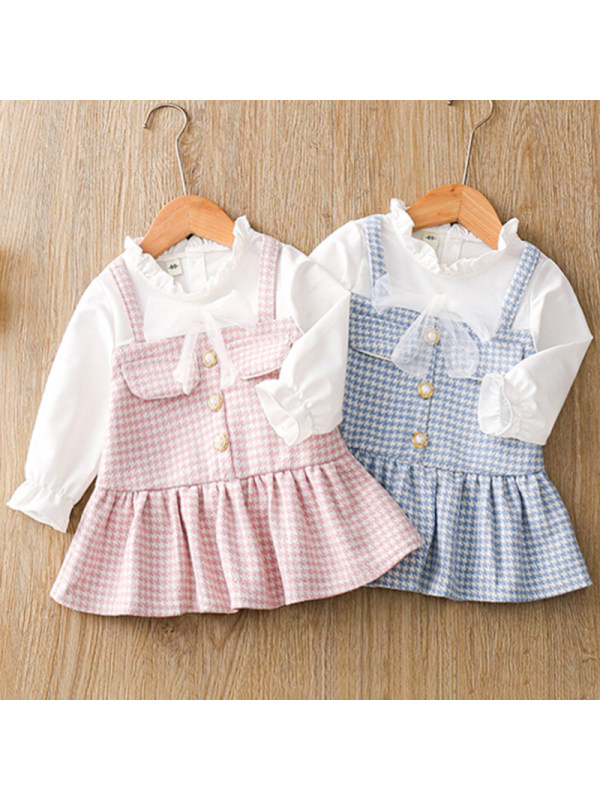 【12M-4Y】Girls Sweet Houndstooth Long-sleeved Fake Two-piece Dress