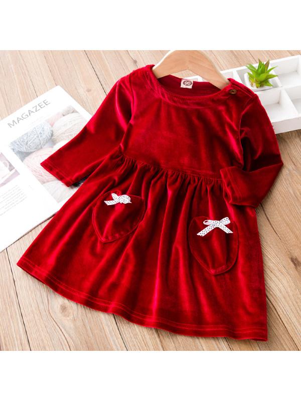【18M-7Y】Girl Sweet Red Velvet Long-sleeved Dress