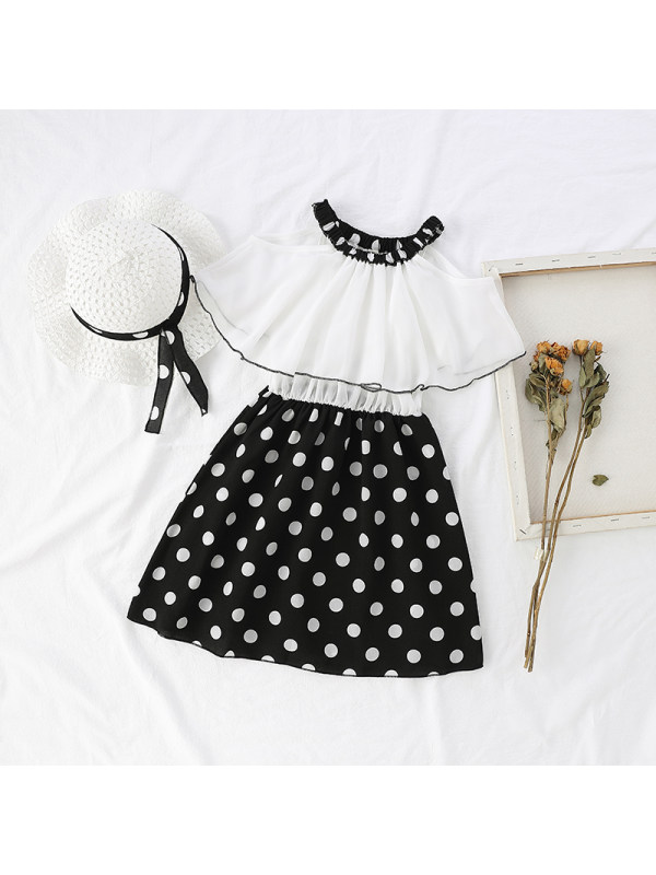 【3Y-13Y】Girls Polka Dot Color Matching Dress With Hat