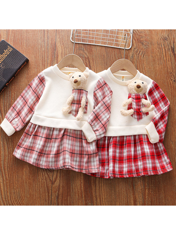 【18M-5Y】Girls Sweet Plaid Long-sleeved Dress With Bear