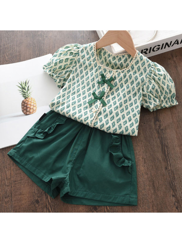 【18M-7Y】Girl Sweet Green Floral Top Shorts Set