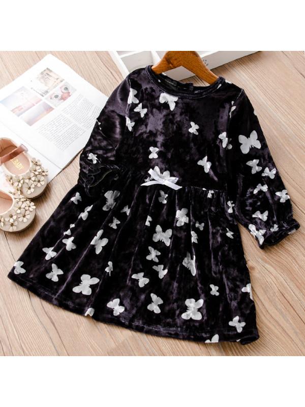 【18M-7Y】Girl Sweet Black Velvet Butterfly Pattern Long-sleeved Dress