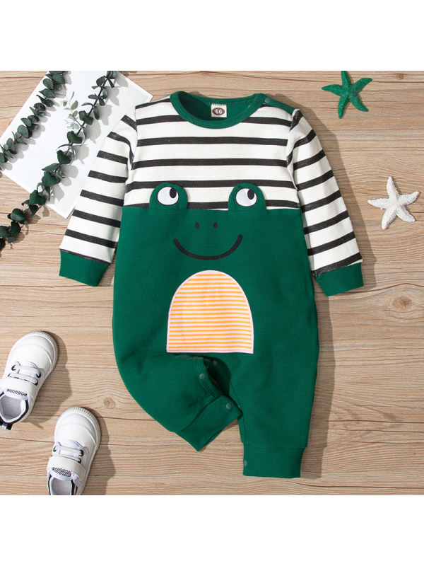 【6M-24M】Contrasting Multicolor Stitching Long-sleeved Jumpsuit for Babies