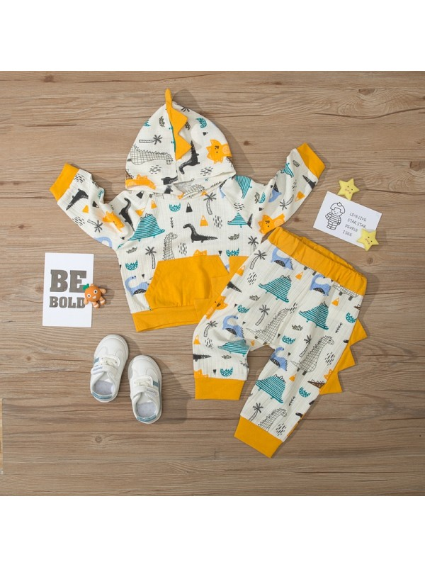 【9M-3Y】Baby Color Contrast Stitching Cartoon Print Long-sleeved Two-piece Suit
