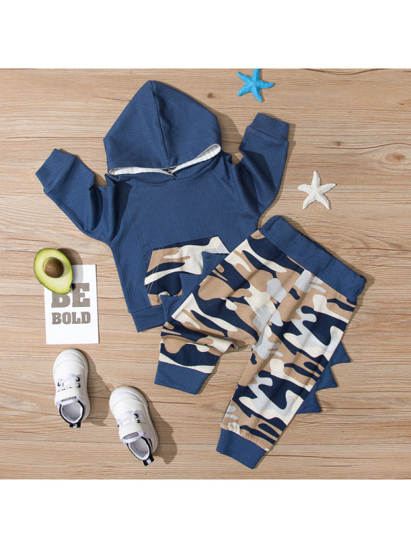 【9M-3Y】Baby Camouflage Stitching Long Sleeve Two-piece Suit
