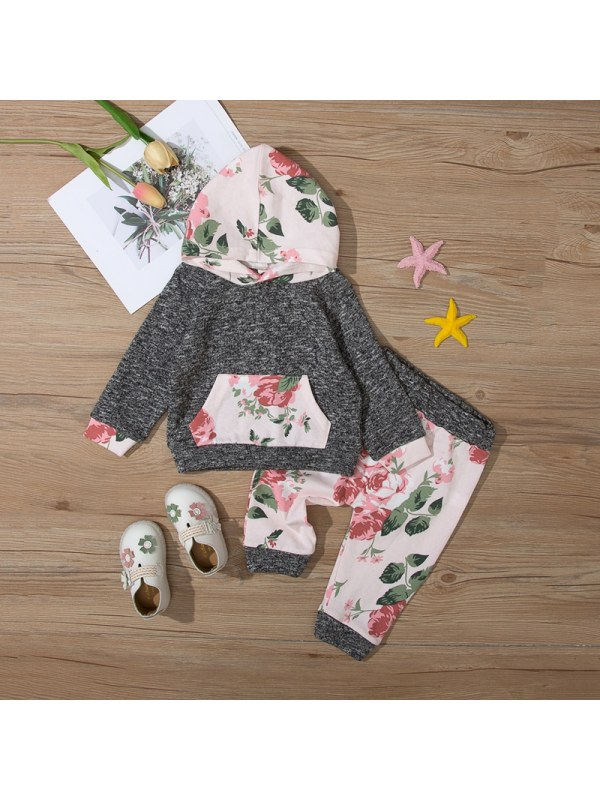 【9M-3Y】Girl Contrast Print Long Sleeve Two-piece Suit