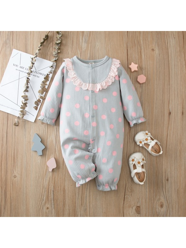 【6M-24M】Long-sleeved One-piece with Lace Decoration for Babies