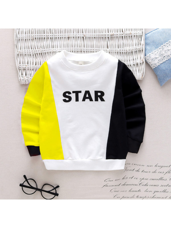 【18M-7Y】Boys' Multicolor Contrast Stitching Letter Print Long-sleeved Sweatershirt