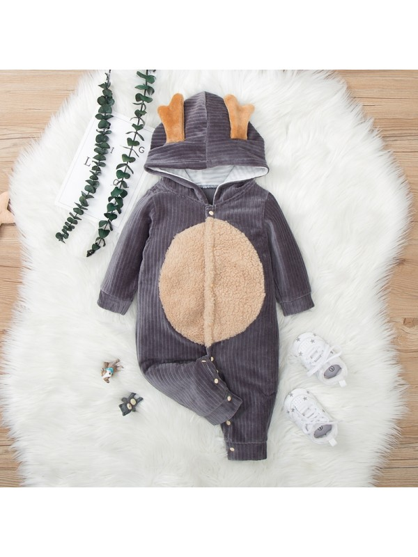 【6M-24M】Hooded Long-sleeved Jumpsuit For Babies