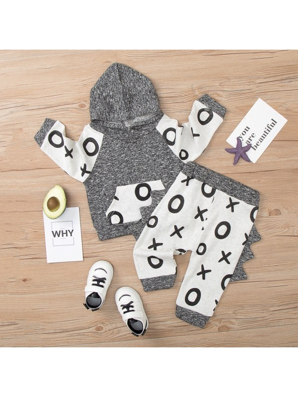 【9M-3Y】Baby Color Stitching Long-sleeved Two-piece Suit