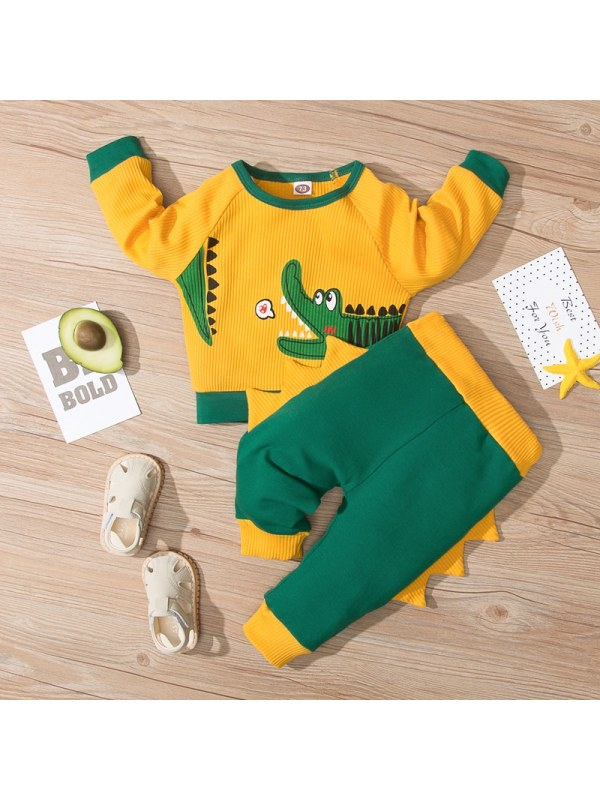 【9M-3Y】Baby Boy Cartoon Print Long Sleeve Two-piece Suit