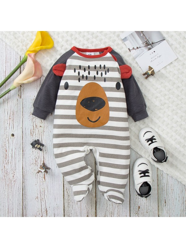 【0M-12M】Baby Boy Cartoon Print Long-sleeved Jumpsuit