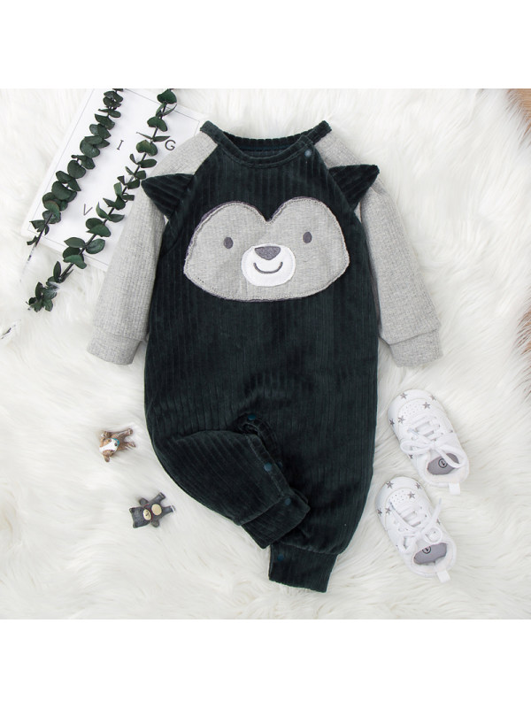 【6M-24M】Contrasting Color Stitching Cartoon Embroidered Long-sleeved One-piece For Babies