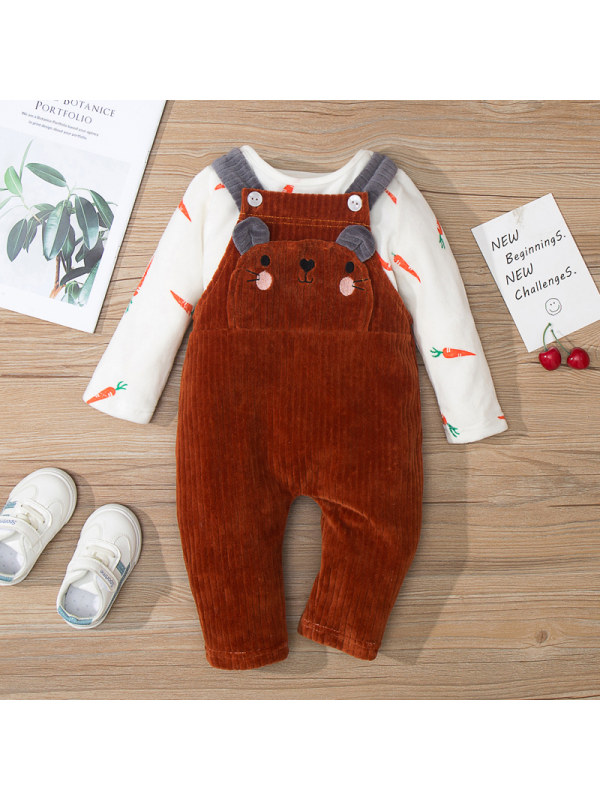 【9M-3Y】Baby Cartoon Print Blouse And Overalls Suits