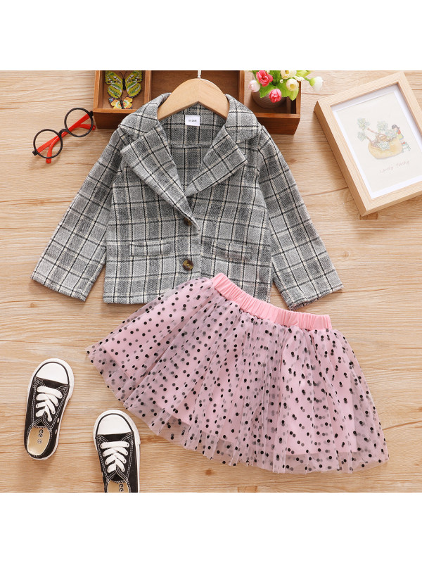 【3M-3Y】Elegant Gray Plaid Jacket And Pink Polka Dot Mesh Skirt Set