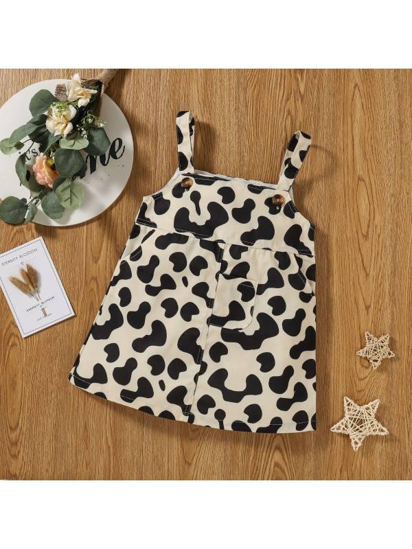 【18M-7Y】Girls Cow Print Strap Dress