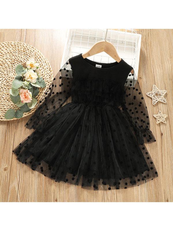 【18M-6Y】Girls Polka Dot Mesh Long Sleeve Puffy Dress