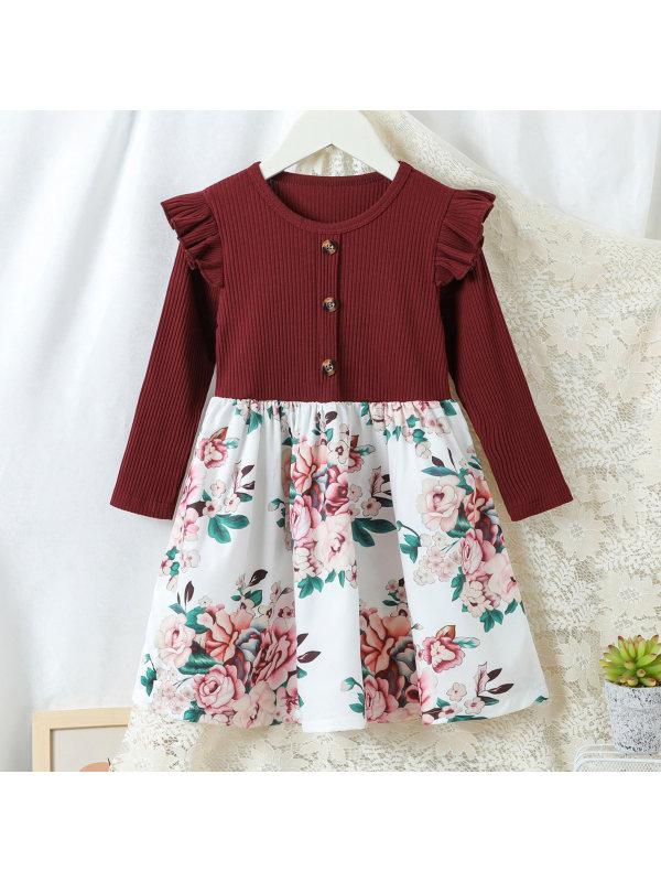 【18M-7Y】Sweet Flower Print Red Long Sleeved Dress