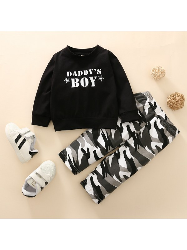 【6M-3Y】Boys' Round Neck Letter Printed Long-sleeved Sweatershirt and Camouflage Trousers Suit
