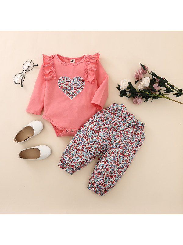 【6M-3Y】Baby Girl Round Neck Floral Love Jumpsuit With Floral Trousers Suit