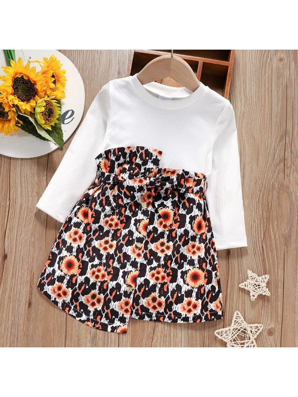 【18M-6Y】Girls Long-sleeved White Pit Strip Stitching Flower Print Dress