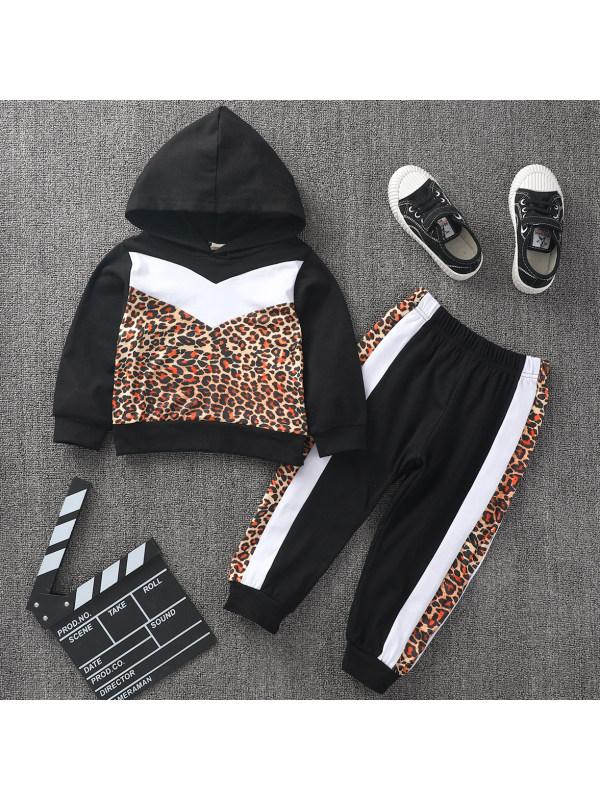 【18M-7Y】Casual Leopard Print Long Sleeve Hooded Sweatshirt Set