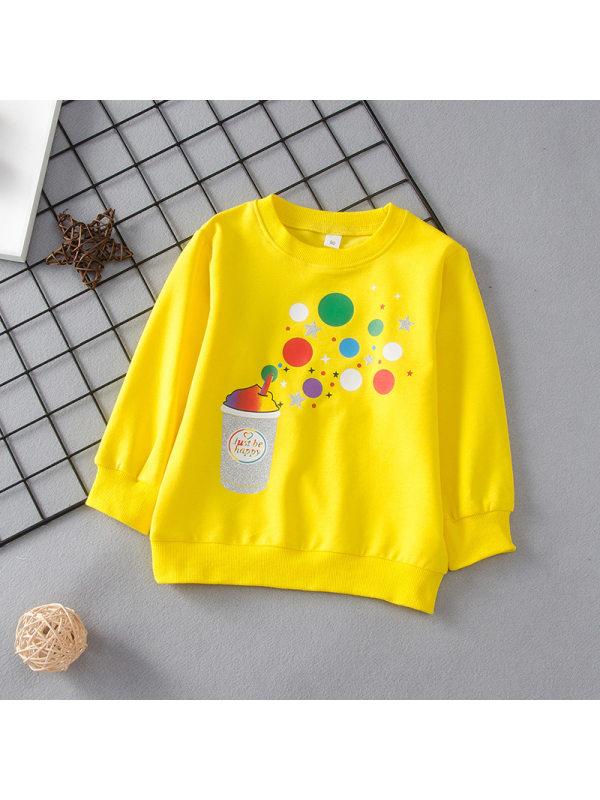 【18M-7Y】Girls Round Neck Cartoon Print Long-sleeved Sweatshirt