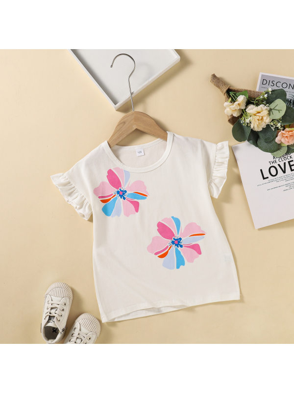 【3Y-11Y】Girls Round Neck Floral Print Flying Sleeve T-Shirt