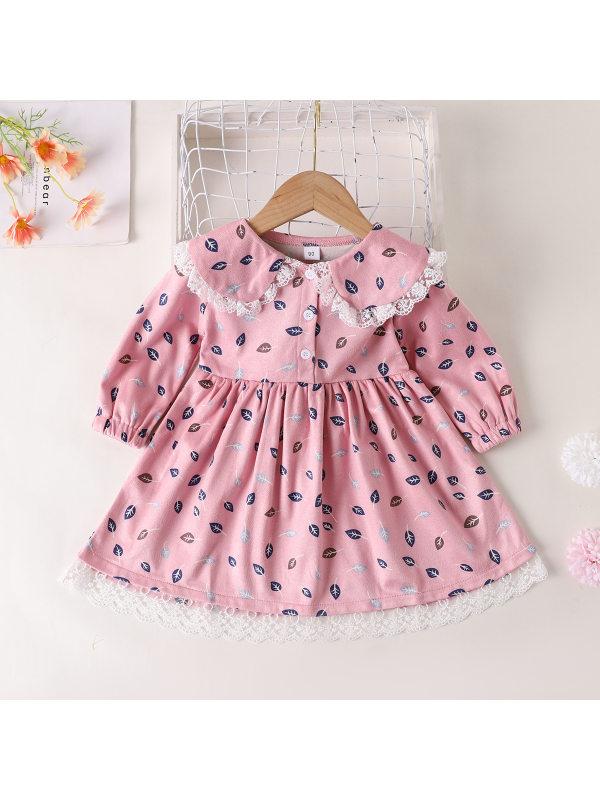 【18M-7Y】Girls Sweet Lace Doll Collar Leaf Print Long Sleeve Dress