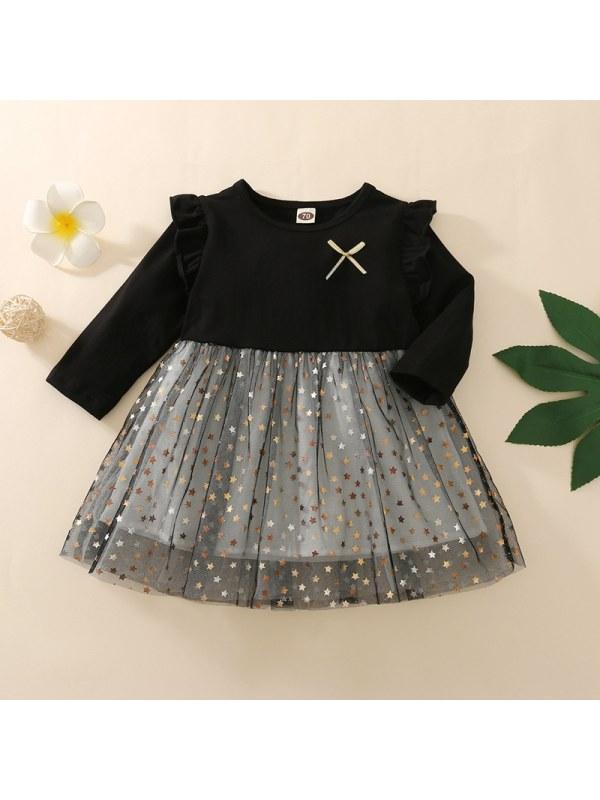 【12M-5Y】Girls Round Neck Long Sleeve Mesh Star Dress