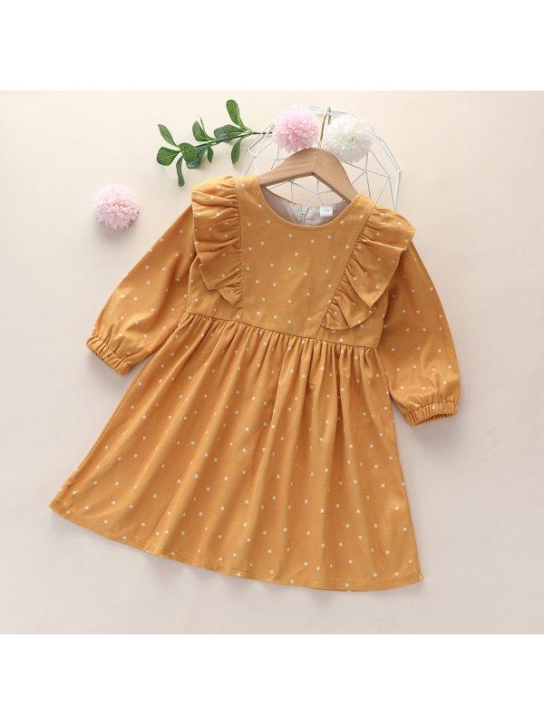 【18M-7Y】Girls Sweet Polka Dot Lace Long Sleeve Dress