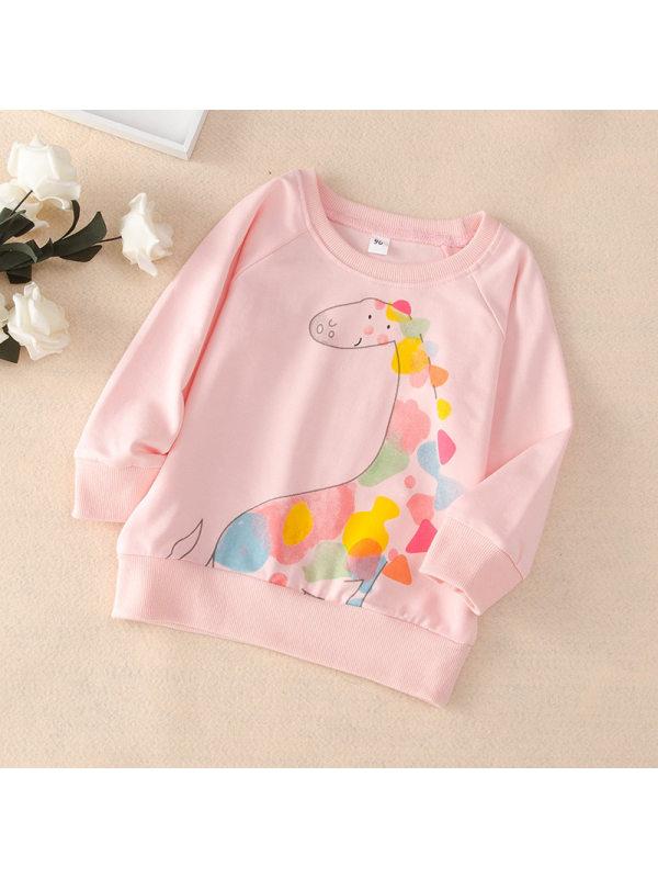 【18M-7Y】Girls Round Neck Cartoon Print Long-sleeved Sweatershirt