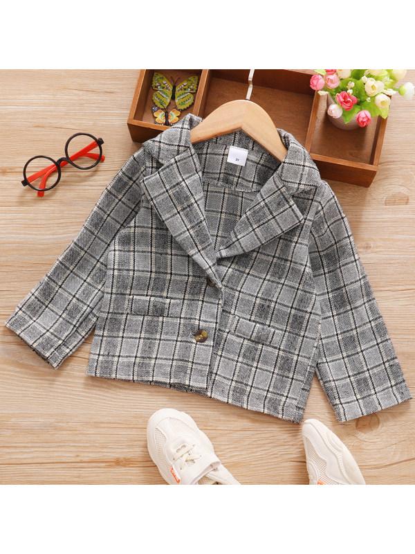 【6M-3Y】Sweet Grey Plaid Long Sleeve Coat