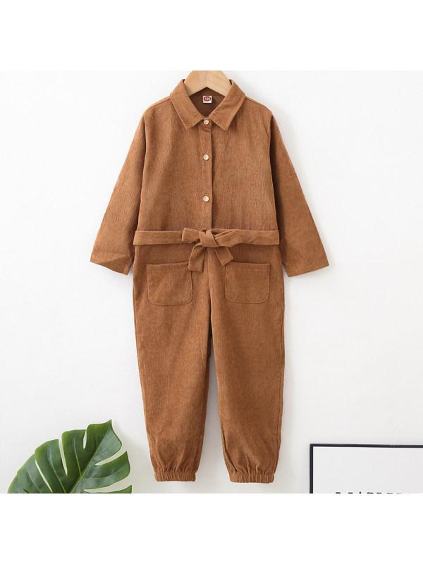 【18M-7Y】Sweet Brown Long Sleeved Jumpsuit