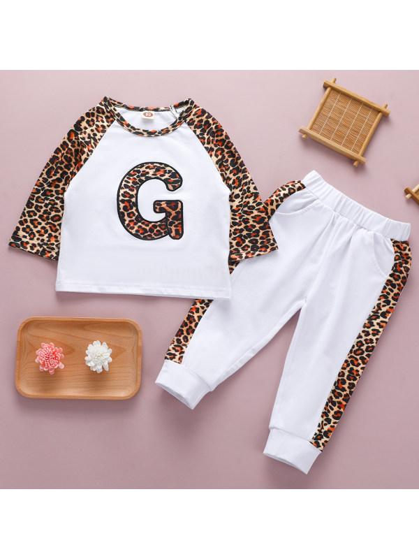【12M-5Y】Casual Letter Print Leopard Print T-shirt Set