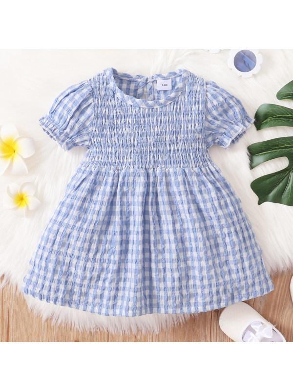 【3M-3Y】Cute Blue Plaid Round Neck Short Sleeve Dress