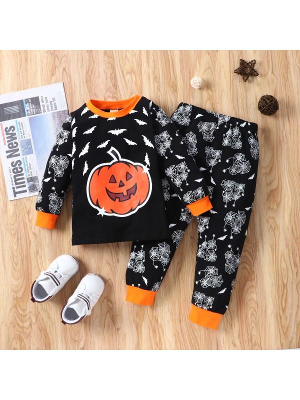 【12M-5Y】Pumpkin Bat Print Black Long Sleeve Two-piece Suit